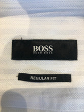 Hugo Boss Men's Blue Stripe Cotton Pointed Collar Dress Shirt 16 - 32/33 - SUIT CHARITY OUTLET