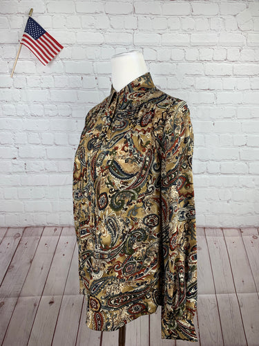Talbots Women's Brown Floral Blouse 10 - SUIT CHARITY OUTLET