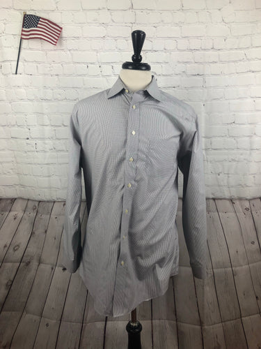 Jos. A. Bank Men's Gray Check Pointed Collar Dress Shirt 16 - 34 - SUIT CHARITY OUTLET