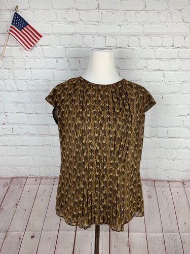 Talbots Women's Brown Geometric Blouse 6