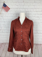Ann Taylor Women's Red Geometric Blouse 2P - SUIT CHARITY OUTLET