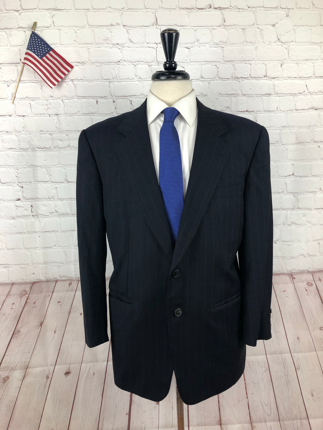 Barney's New York Men's Navy Blue Super 120's Wool Solid Blazer Sport Coat Suit Jacket 42R - SUIT CHARITY OUTLET