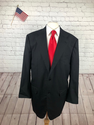 Kiton Men's Black Stripe Wool Suit 44L 40x30 - SUIT CHARITY OUTLET