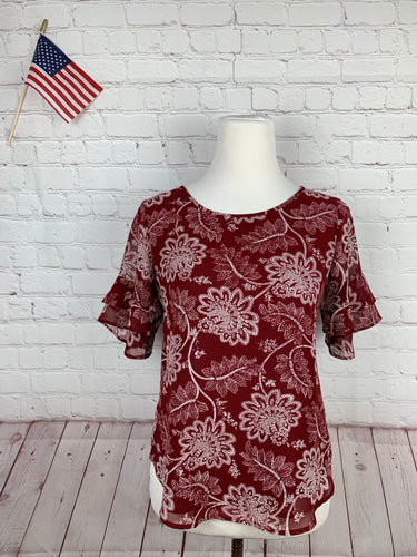 Ann Taylor Women's Red Spring Floral Petite Blouse Top XS - SUIT CHARITY OUTLET
