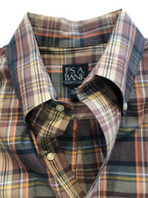 Jos. A. Bank Men's Brown Plaid Cotton Standard Cuff Dress Shirt MEDIUM - SUIT CHARITY OUTLET