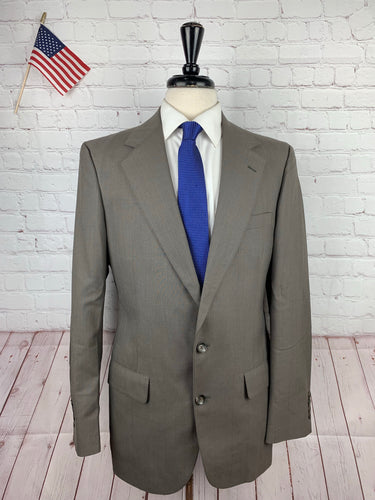 Stafford Men's Grey Brown Striped Two Button Suit 40L 33X33 - SUIT CHARITY OUTLET