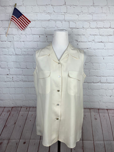 Ann Taylor Women's Beige Solid Blouse M - SUIT CHARITY OUTLET
