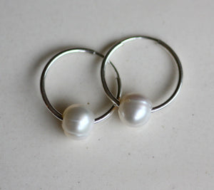 Dime size Sterling Silver Hoops with FWP