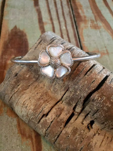 One of a Kind ~ Mother of Pearl Flower on Sterling Cuff