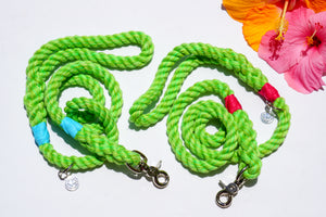 Lime Green Cotton Dog Leash, Salted Lime Rope Color