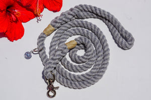 Seal Gray Cotton Rope Dog Leash