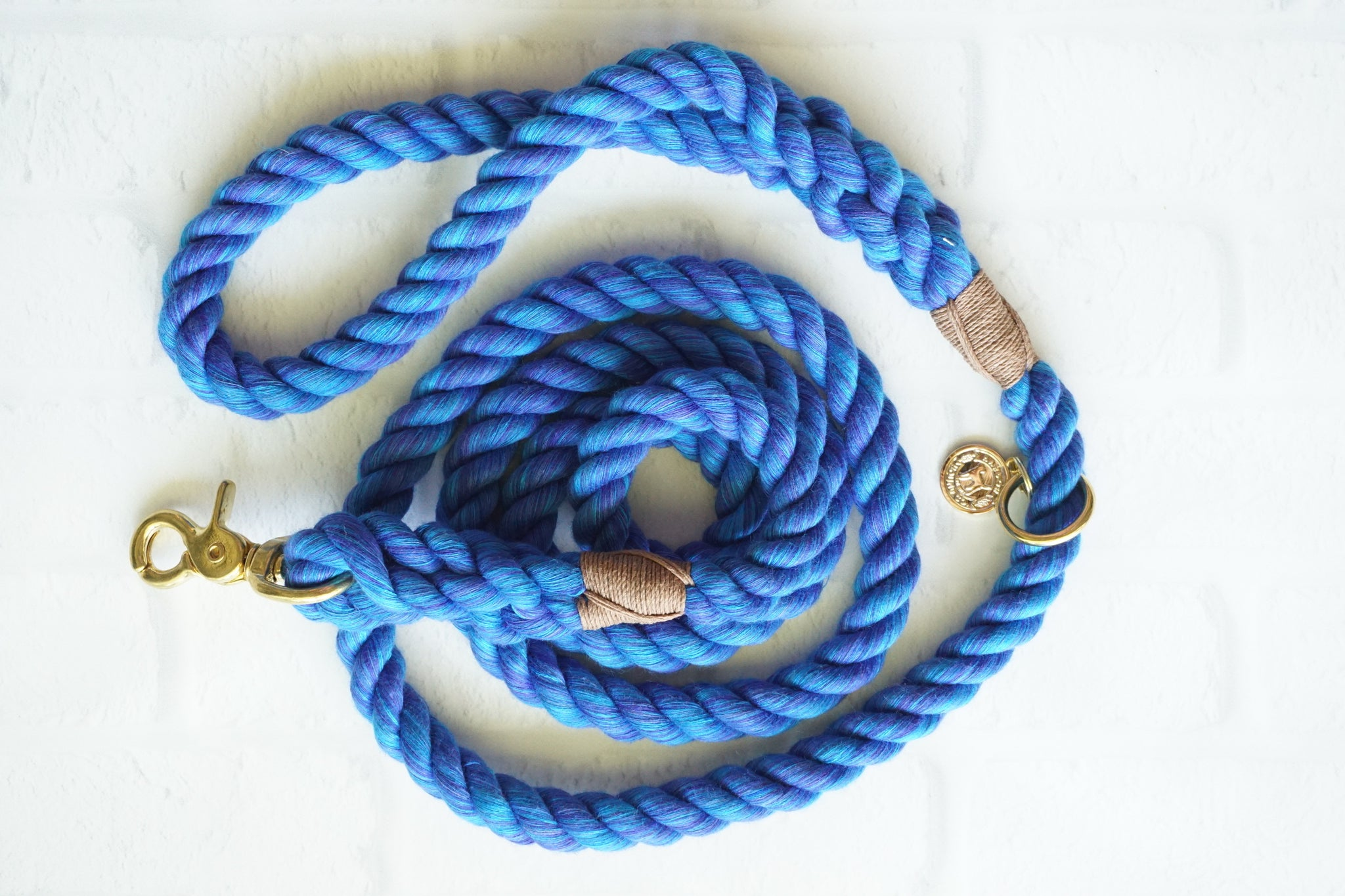 Dory Blue Cotton Rope Leash, Royal Blue Dog Leash