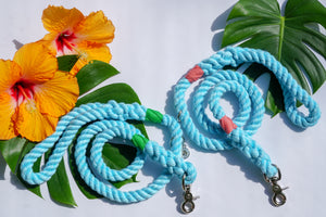Aqua Cotton Rope Leash