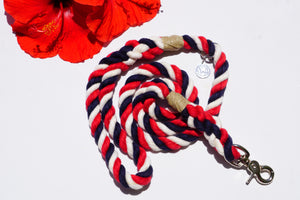 Red White and Blue Dog Leash, Patriotic Dog Leash, Red white and blue rope leash