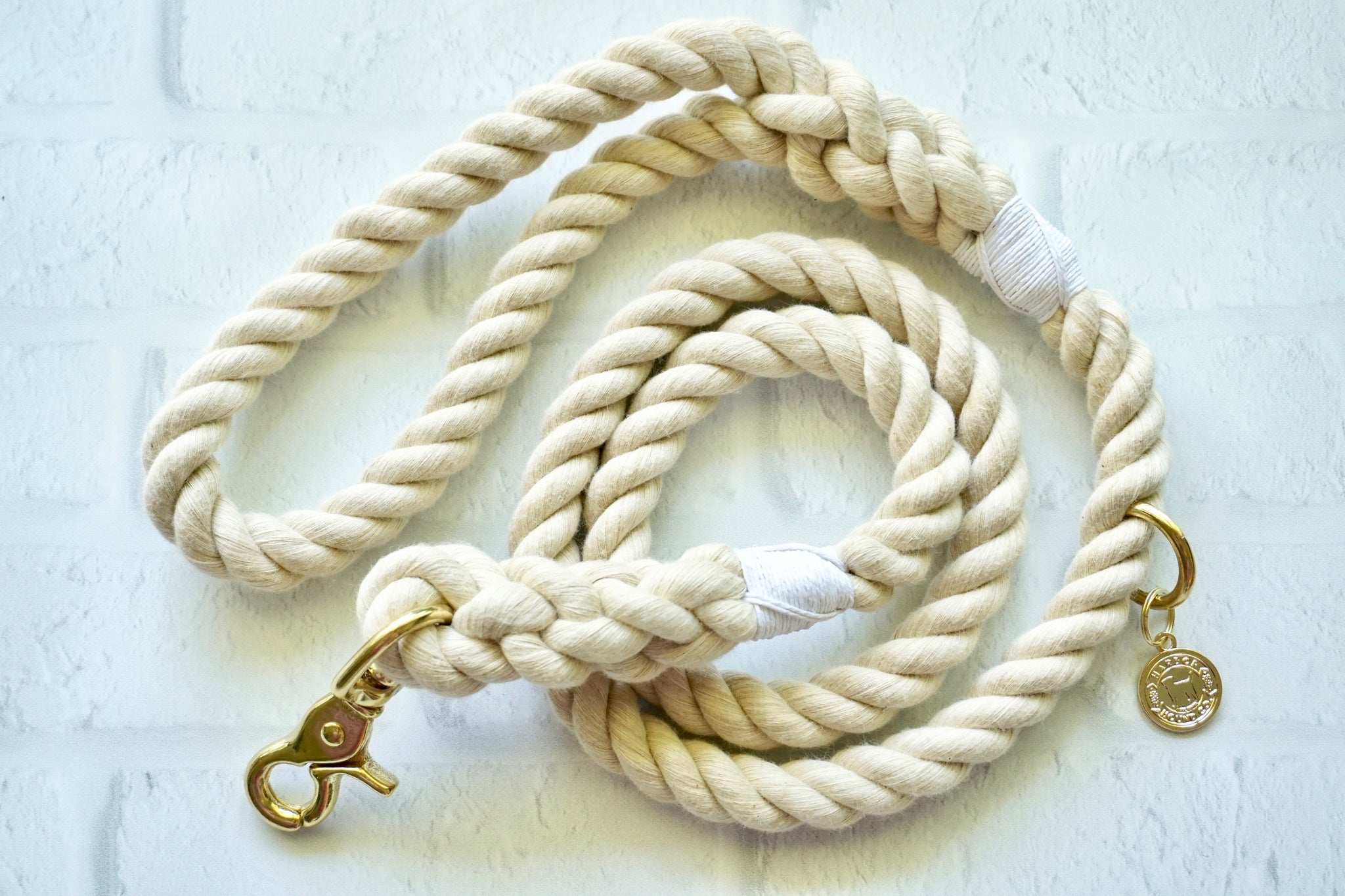 Shark Tooth Khaki Cotton Rope Dog Leash