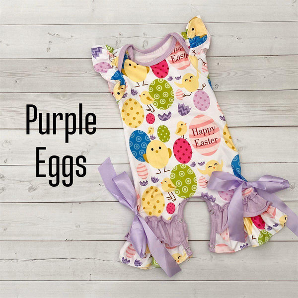Summer Ruffle Rompers-Little Spud Boutique-Purple Eggs-0-3 month-Little Spud Boutique