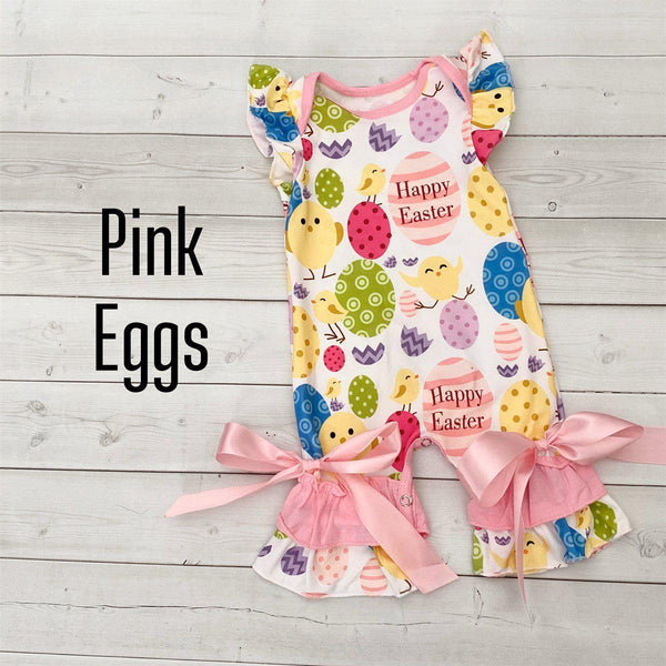 Summer Ruffle Rompers-Little Spud Boutique-Pink Eggs-0-3 month-Little Spud Boutique