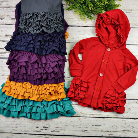 Ruffle Hooded Jacket-Little Spud Boutique-Little Spud Boutique