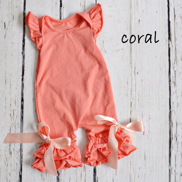 Summer Ruffle Rompers-Little Spud Boutique-Coral-0-3 months-Little Spud Boutique