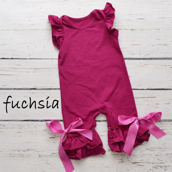 Summer Ruffle Rompers-Little Spud Boutique-Fuschia-0-3 months-Little Spud Boutique