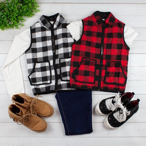 Buffalo Plaid Vest Jackets-Little Spud Boutique-Little Spud Boutique