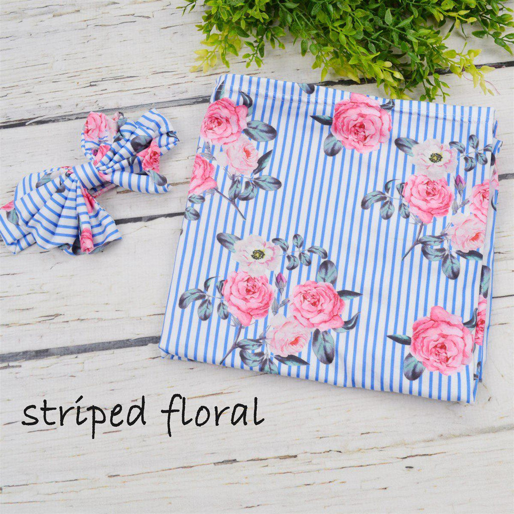 2fdcaeb12 ... Baby Girl Swaddle Blanket and Bow-Little Spud Boutique-Striped Floral-Little  Spud