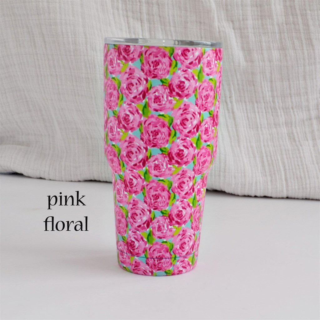 30 oz. Stainless Steel Insulated Cups-Little Spud Boutique-Pink Floral-Little Spud Boutique