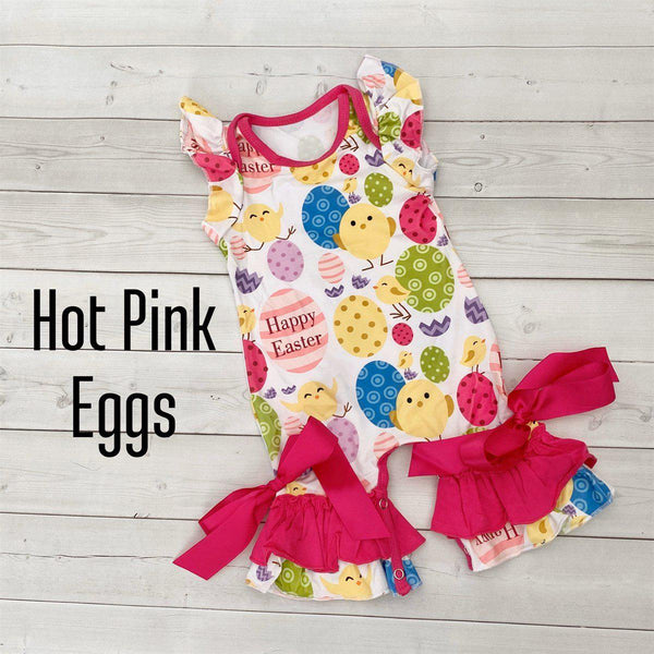 Summer Ruffle Rompers-Little Spud Boutique-Hot Pink Eggs-3-6 month-Little Spud Boutique