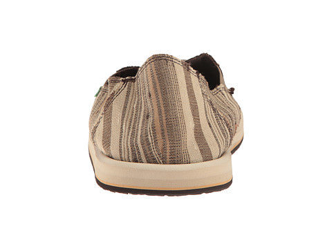 Sanuk Donny Shoe-Dark Brown Vintage Denim Stripe