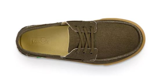 Sanuk The Sea Man Shoe-Army Green Washed