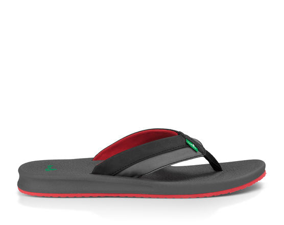 Sanuk Brumeister Sandal-Black/Charcoal/Red
