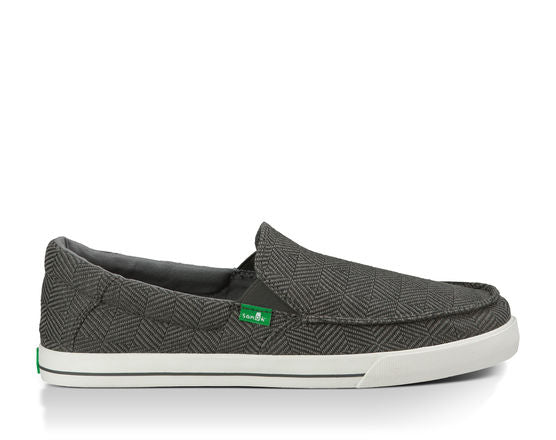 Sanuk Sideline Checked Shoe-Charcoal Checked