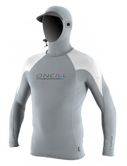 O'Neill Premium Skins O'Zone Hooded L/S Rashguard-Cool Grey