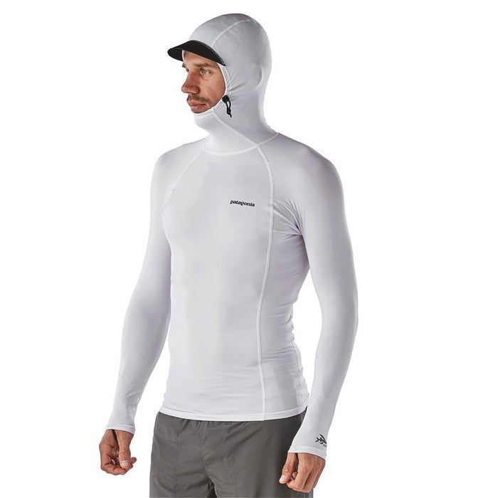 Patagonia R0 Hooded Rashguard-White w/Feather Grey