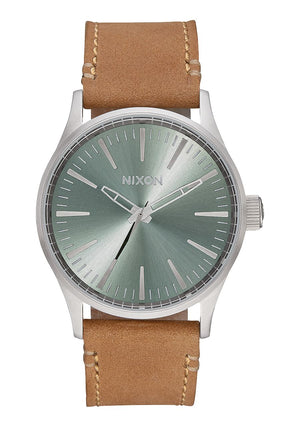 Nixon Sentry 38 Leather Watch-Saddle/Sage