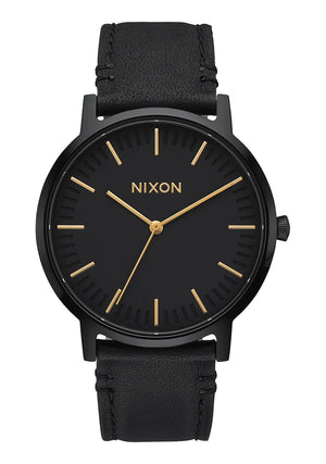 Nixon Porter Leather Watch-All Black/Gold