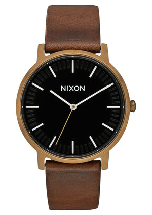 Nixon Porter Leather  Watch-Brass/Black/Brown