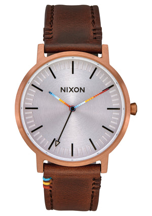 Nixon Porter Leather Watch-Copper/Brown/Serape