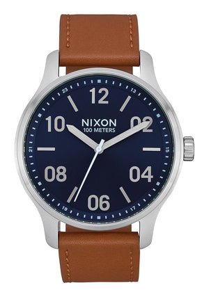 Nixon Patrol Leather Watch-Navy/Sadle
