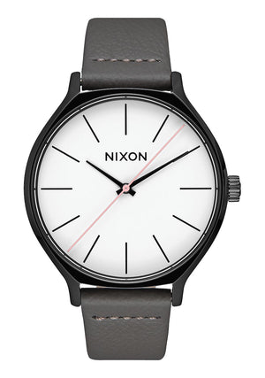 Nixon Clique Leather Watch-Black/Gray