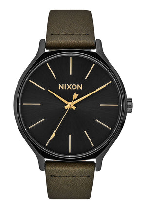 Nixon Clique Leather Watch-Black/Fatigue