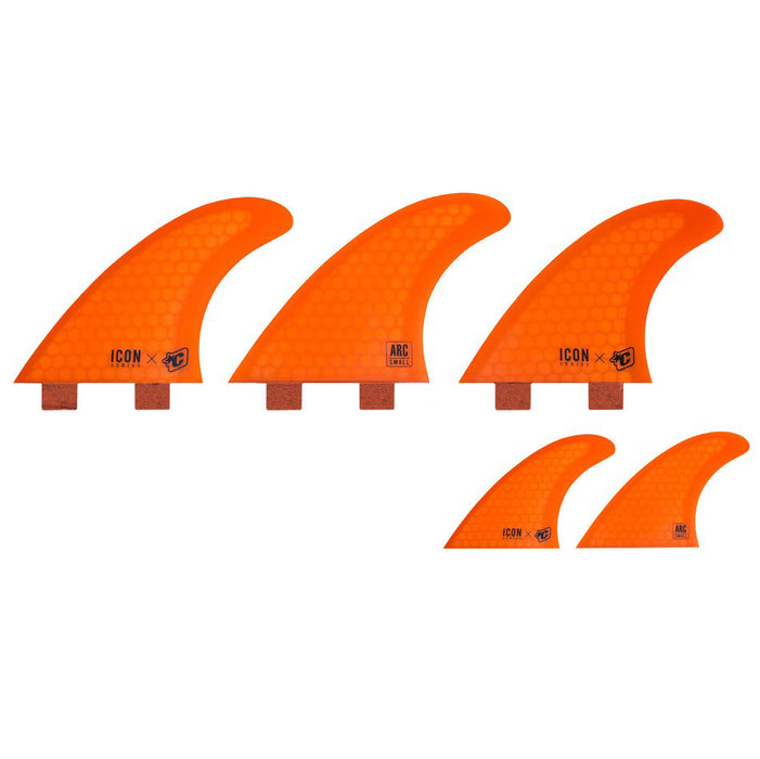 Creatures Icon Arc FCS Tri/Quad Fin Set-Orange-Small