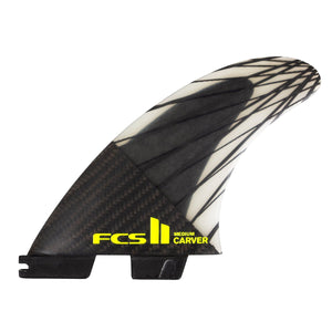 FCS Carver PC Carbon Tri Fin Set-Black/Acid-Large