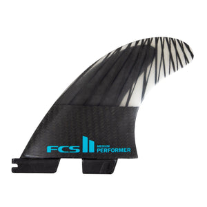 FCS Performer PC Carbon Tri Fin Set-Black/Teal-Small
