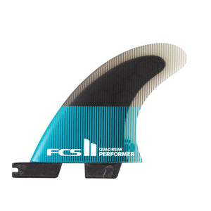 FCS Performer PC Quad Rear Fin Set-Teal/Black-Small