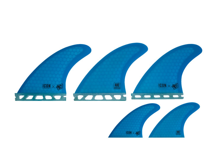 Creatures Icon Arc Futures Tri/Quad Fin Set-Medium-Cyan