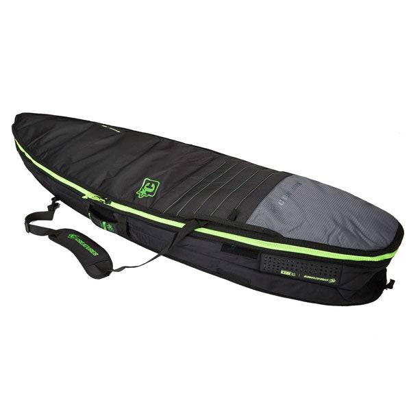 Creatures Shortboard Double Bag-Charcoal Lime-6'3""