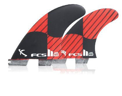 FCS II MB PC Carbon Tri/Quad Fin Set-Red-Large