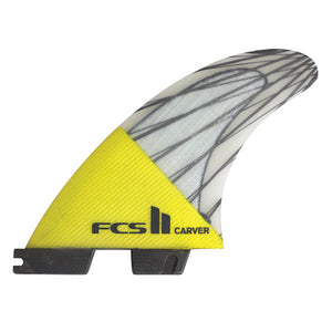 FCS II Carver PC Carbon Tri Fin Set-Yellow-Large