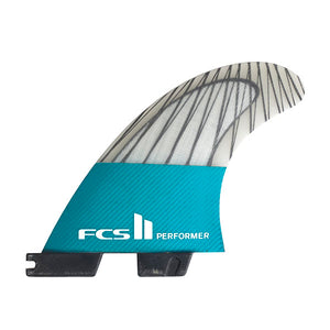 FCS II Performer PC Carbon Tri Fin Set-Teal-Large